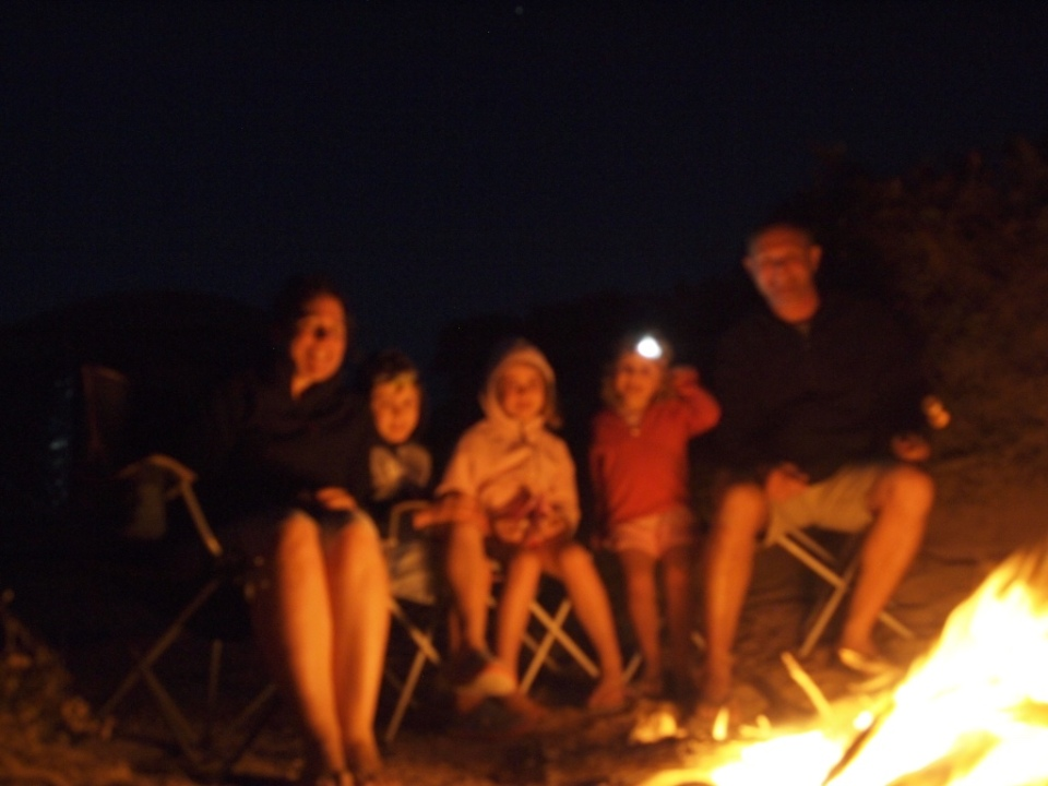 First toasted marsh mellows...and cosy camp fire.