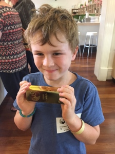 Holding a gold bar this one was chocolate (they have the real one under lock and key)