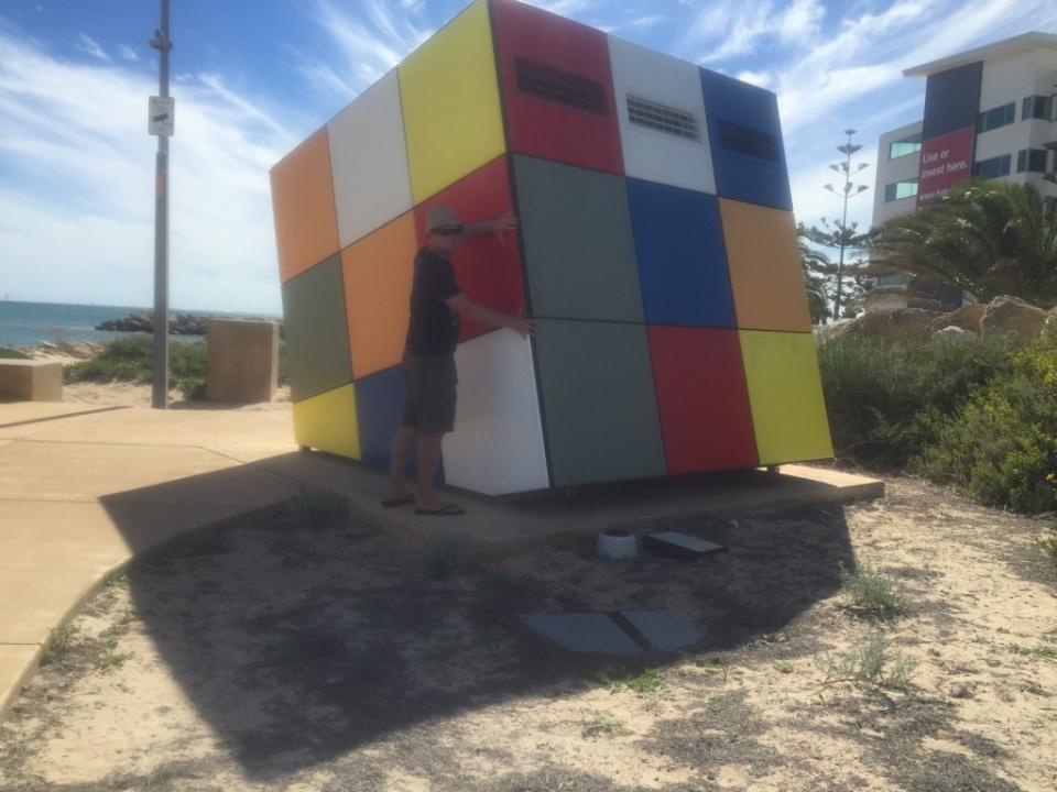 Big rubix cube aaron rolling.