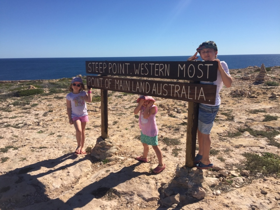 Kids at the most westerly point.