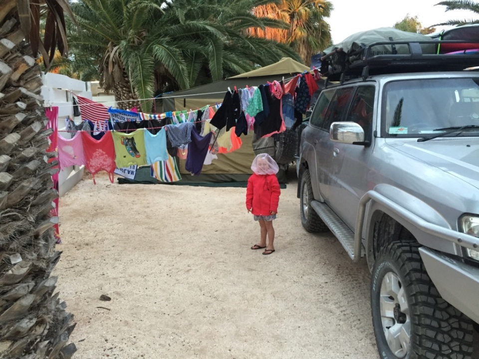The carpark camp and our washing lines!