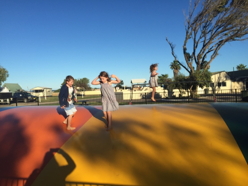 jumping pillow at the Big4 caravan park in Geraldton was a hit!