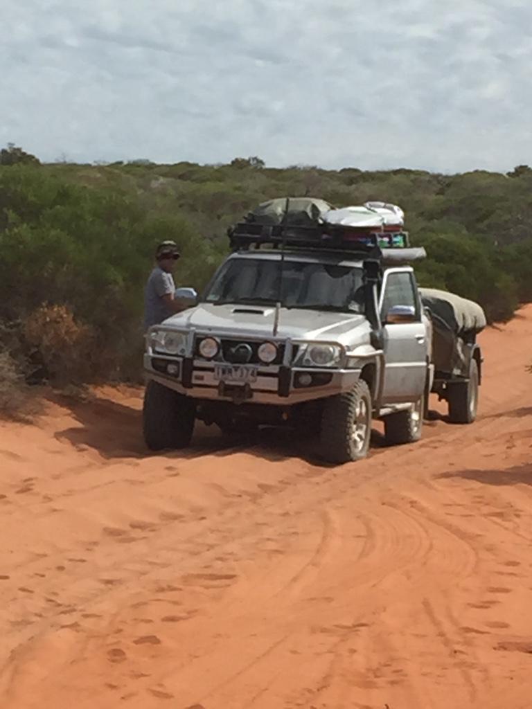 The Patrol in the sandy tracks