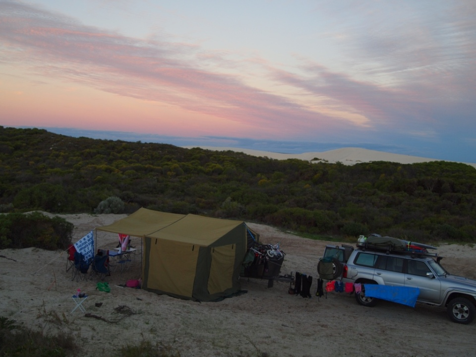 Sunset view of our camp and the dunes in the back ground.
