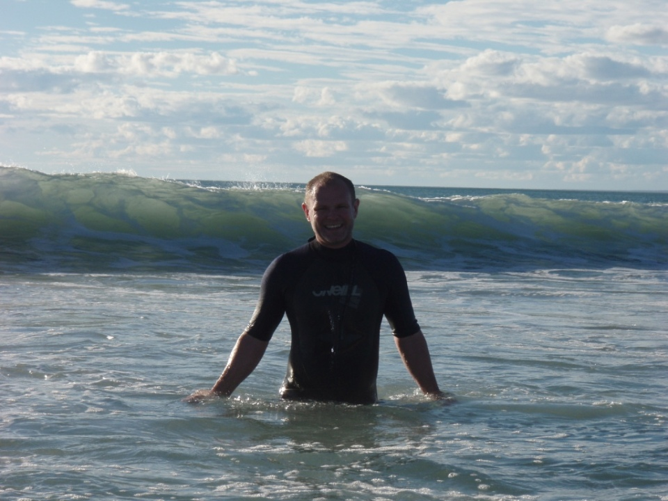 Andrew in the waves.