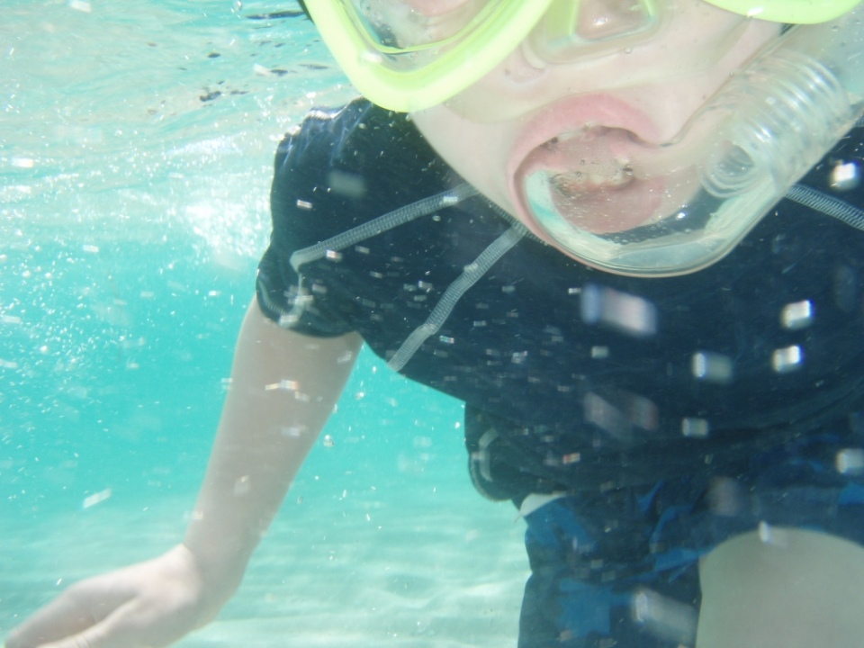 Aaron snorkeling...not too good at lining camera up!