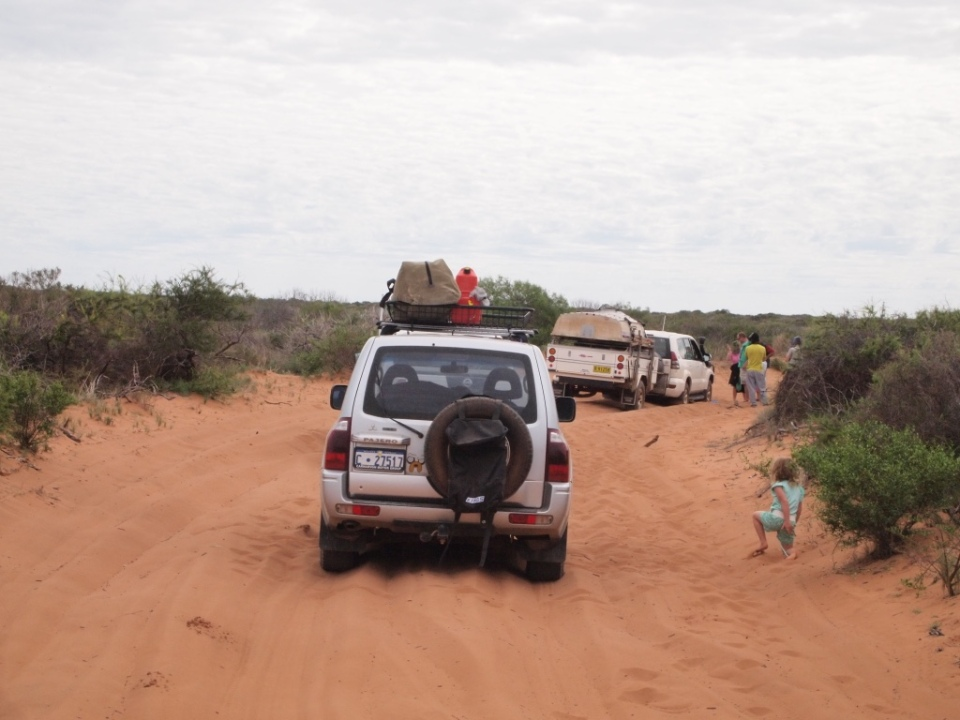 The first vehicle and trailer that was bogged.
