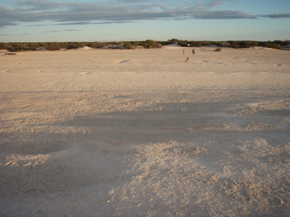 The beach is very wide 150m of shells before reaching the water estimated 10 metres deep.