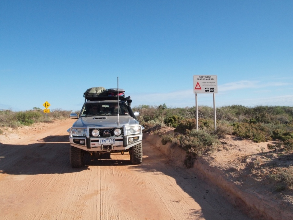 The warning sign - soft sandy tracks ahead - this was near where we saw the bogged vehicles.