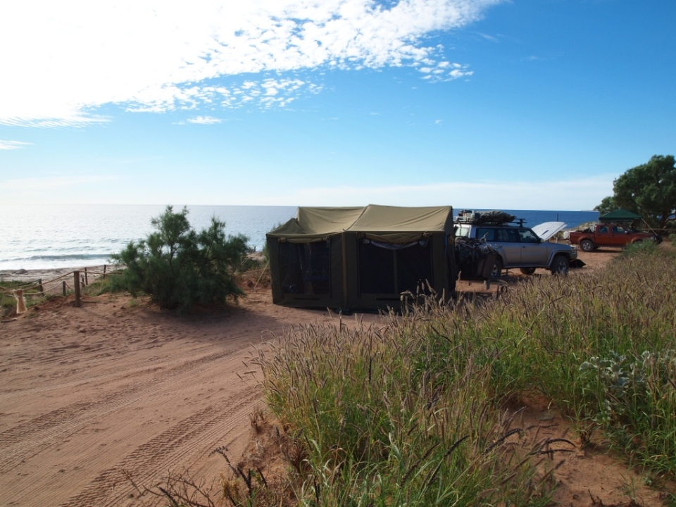 Our camp next to the beach