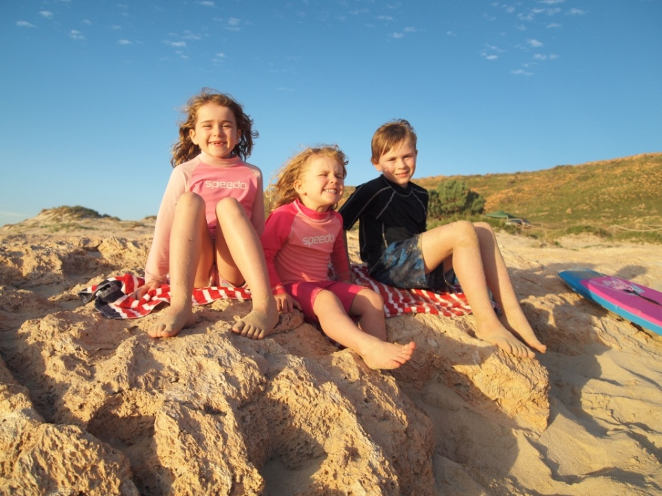 Kids on the beach at Red Bluff