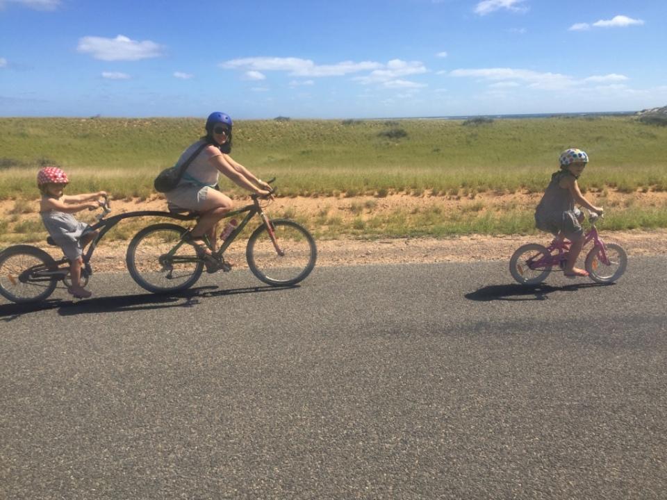 Trailer bike riding fun
