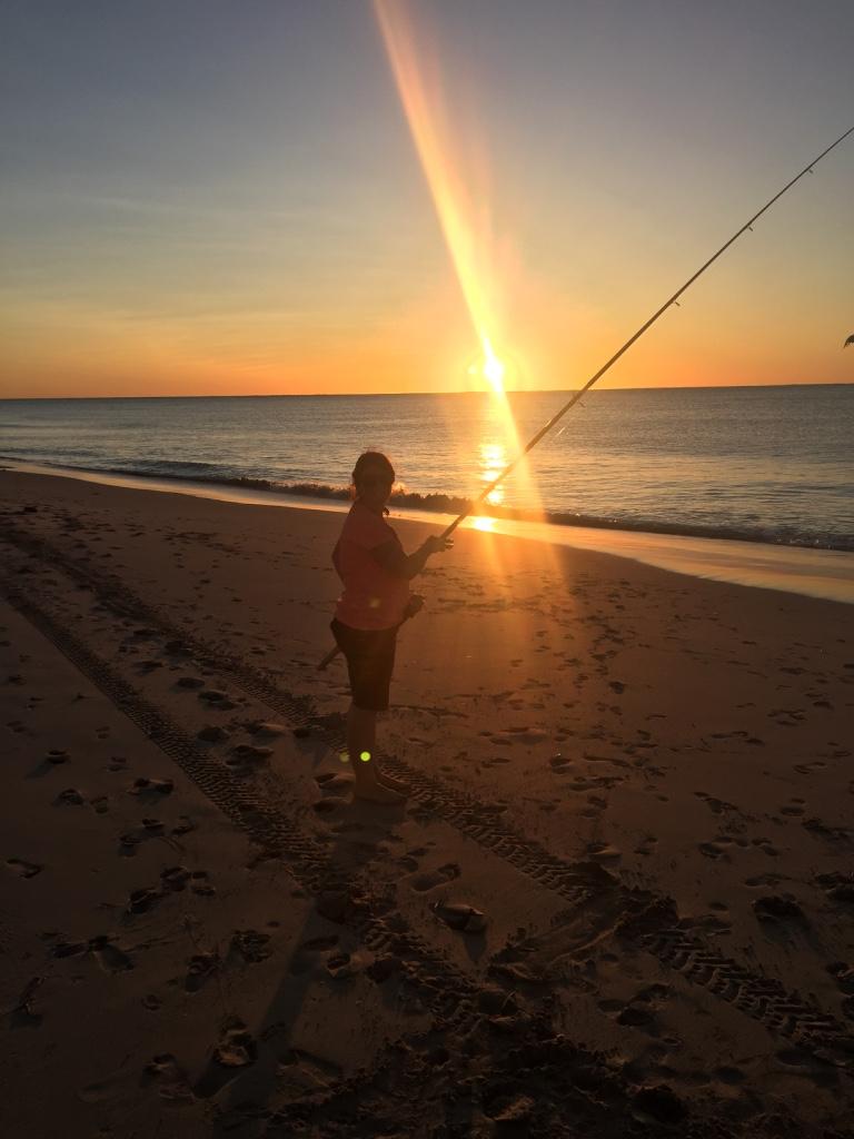 Fishing at sunset Coral Bay