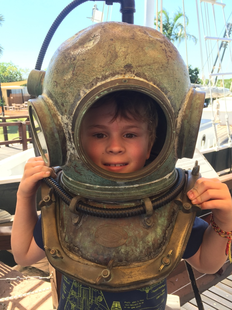 Aaron in the diving helmet