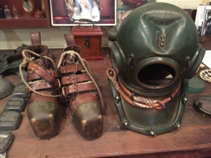 Old diving equipment the boots they wore weighted 15kgs each