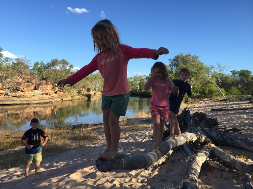 Kids playing at Hann River
