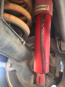 Oil leak from the shock absorber