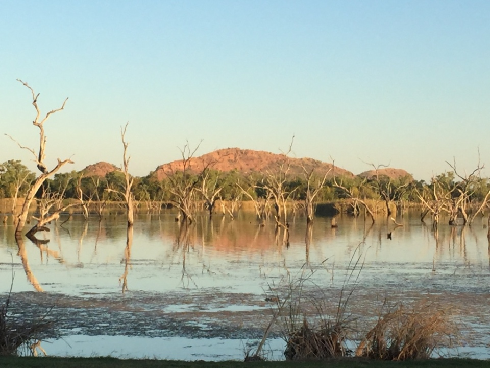 View of the resting Buddha at Lake Kununurra from camp