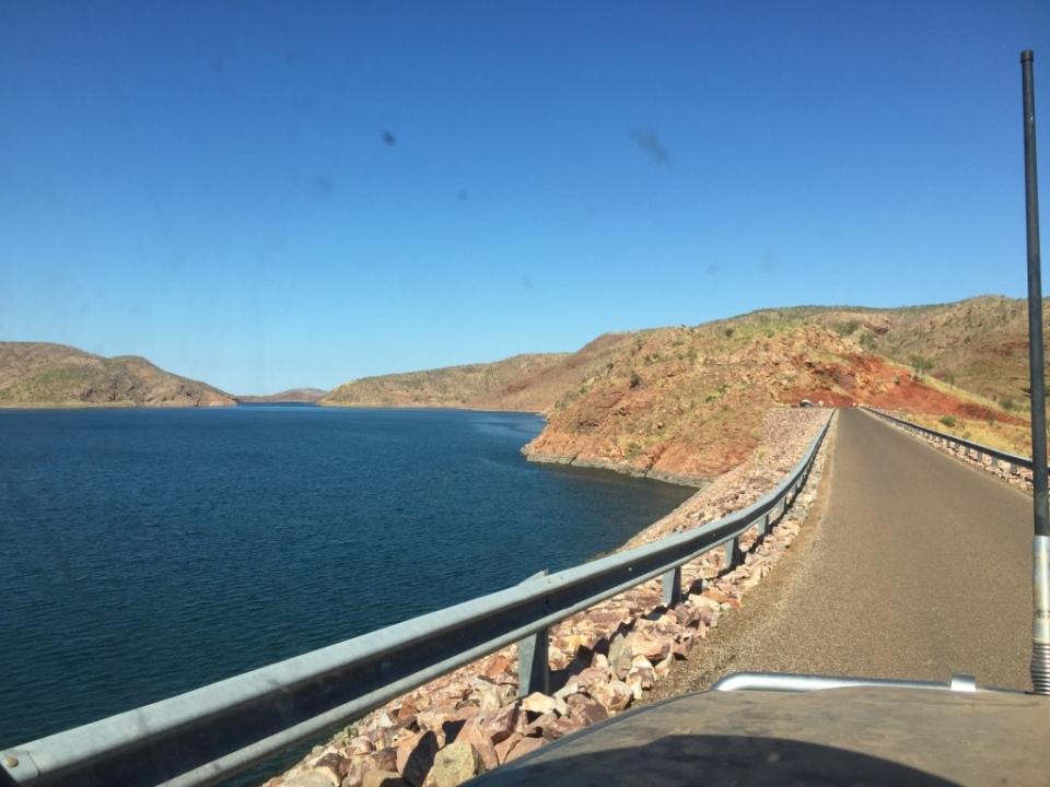 Crossing the dam wall