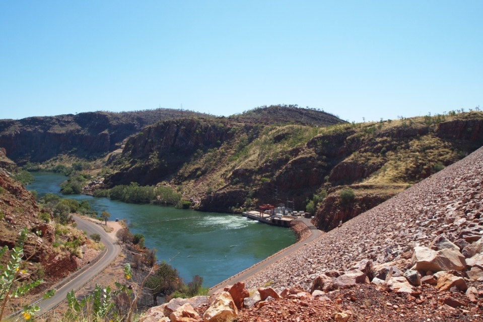 View of the Ord River down stream of the big wall