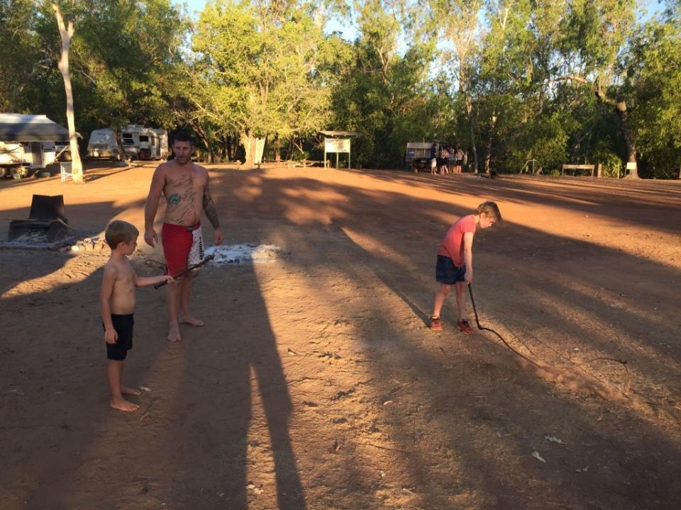 Crackerjack teaching Aaron to crack his whip