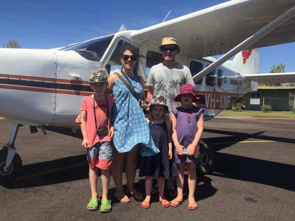 Family photo before the flight