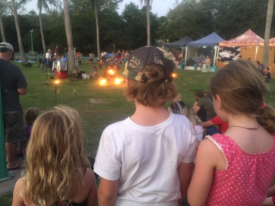 Kids watching the fire twirling