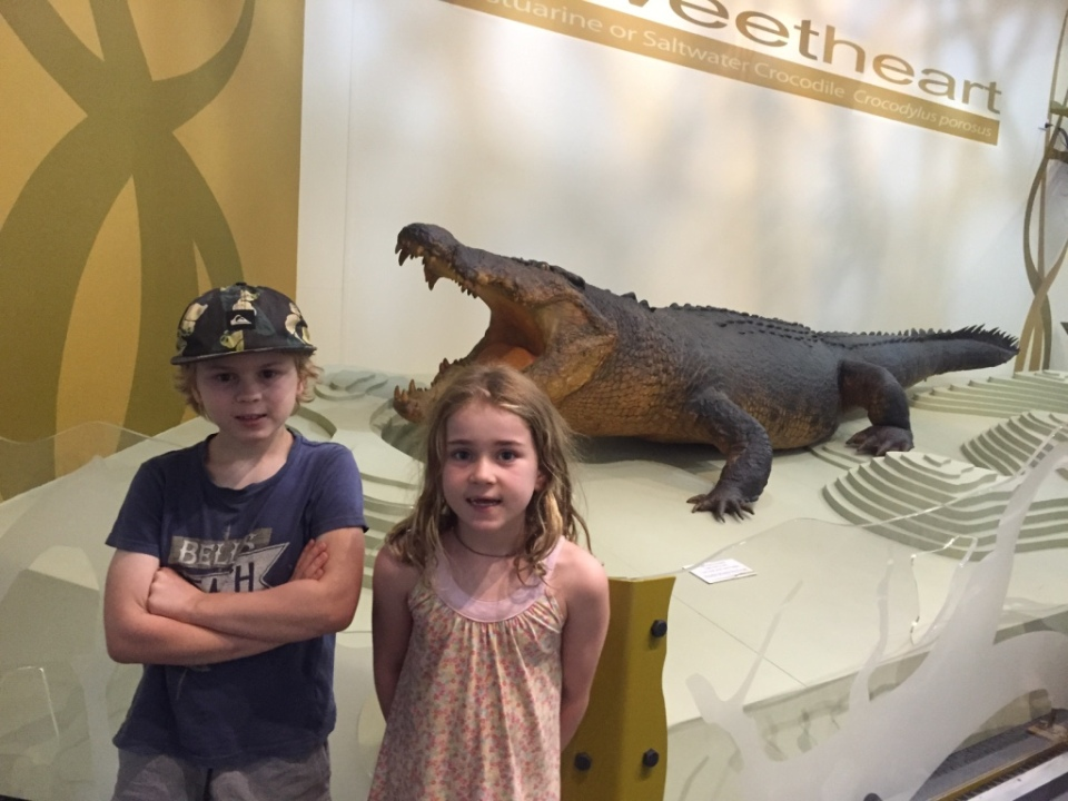 Aaron and Holly with Sweetheart the Crocodile.